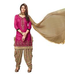 Buy Pink embroidered cotton silk salwar with dupatta cotton-silk-suit online
