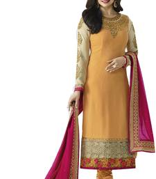 Buy Yellow embroidered georgette salwar semi-stitched-salwar-suit online