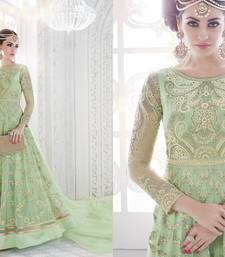 Buy Parrot green embroidered georgette patiala semi stitched salwar with dupatta patiala-salwar online