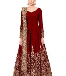 Buy Red embroidered pure art silk salwar anarkali-salwar-kameez online