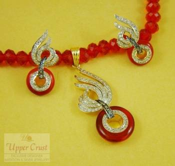 Designer Red Zircon Pendent Earring Necklace Jewellery