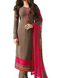 Buy Grey embroidered crepe salwar with dupatta party-wear-salwar-kameez online