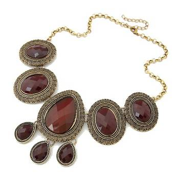 Maroon stones choker neckpiece(CFN0153)