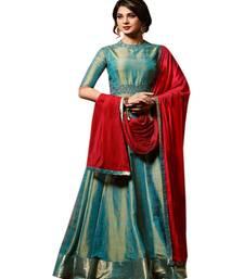 Buy Teal blue two tone embroidered banarasi silk salwar kameez with dupatta anarkali-salwar-kameez online