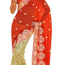 Buy Orange embroidered brasso saree with blouse brasso-saree online