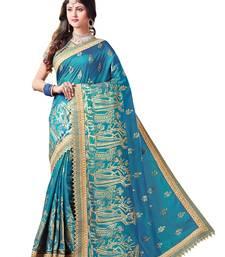 Buy Cobalt blue embroidered silk saree with blouse kota-silk-saree online