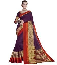 Buy Purple woven cotton silk saree with blouse handloom-saree online