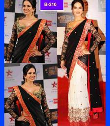 Buy Bikaw Embroidered Black And White Georgette Traditional PartyWear Saree. bollywood-saree online