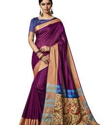Buy Purple embroidered silk saree with blouse art-silk-saree online