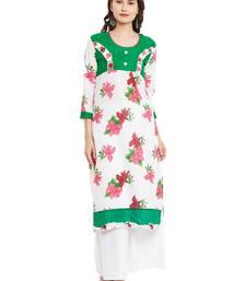 Buy White printed cotton stitched kurti kurtas-and-kurtis online