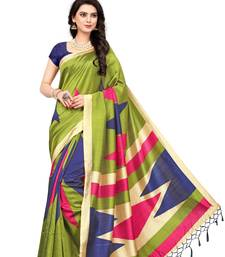 Buy Multicolor printed art silk saree with blouse handloom-saree online