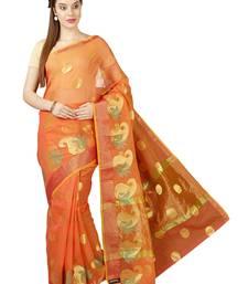Buy Orange plain cotton saree with blouse kota-saree online