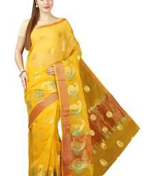 Buy Yellow plain cotton saree with blouse kota-saree online