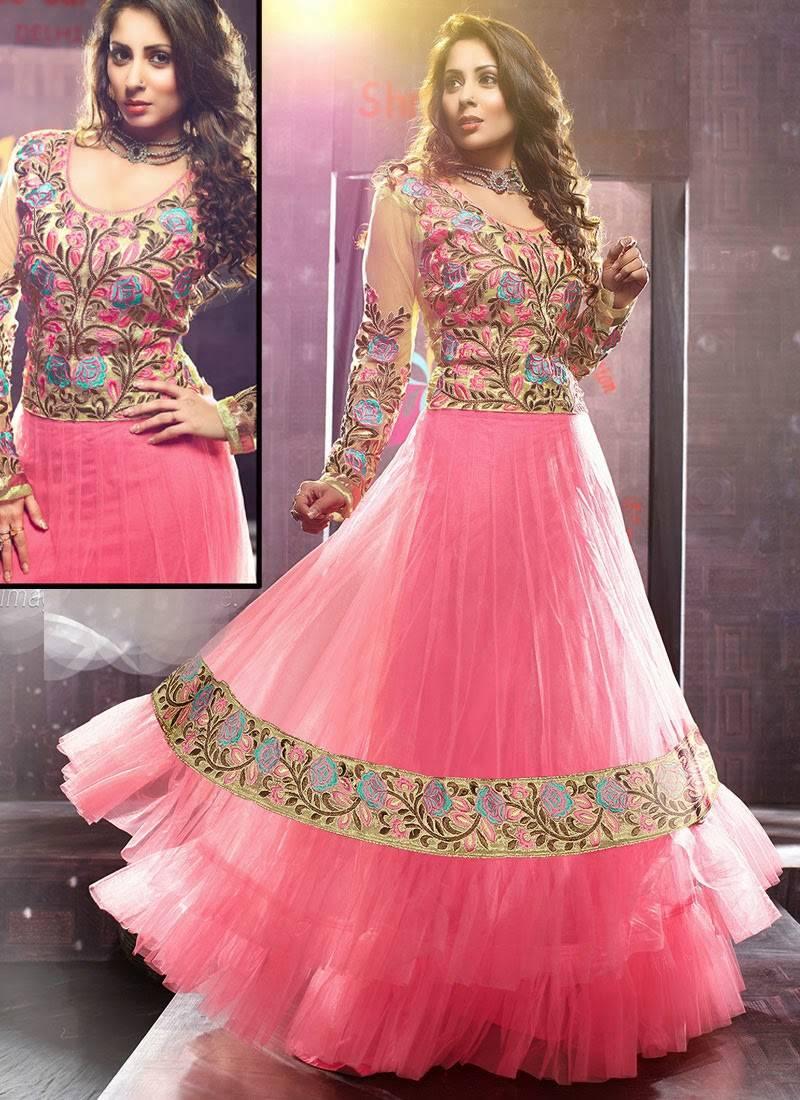 Pink Net Saree: Buy Sangeeta Ghosh In Pink Net Anarkali Suit Online