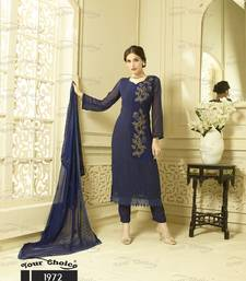 Buy Multicolor embroidered chiffon salwar party-wear-salwar-kameez online