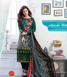 Buy Multicolor embroidered cotton salwar dress-material online