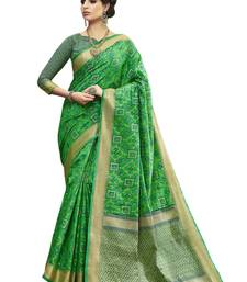 Buy Green printed pochampally silk saree with blouse piece pochampally-saree online