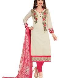 Buy Dnveens women beige embroidery chanderi cotton salwar suits with dupatta dress material  punjabi-suit online