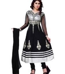 Buy Black Embroidered Cotton Semi-Stitched Anarkali Salwar Suit anarkali-salwar-kameez online