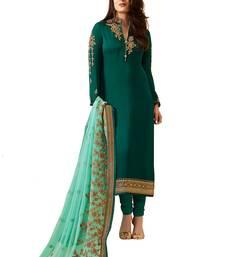 Buy Green embroidered satin salwar festive-salwar-suit online