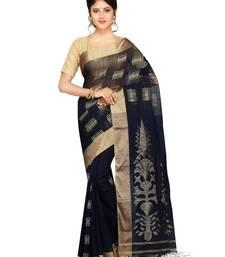 Buy Women's Handloom Silk Cotton Saree of bengal with Blouse Dhakai Jamdani Saree(Blue) handloom-saree online