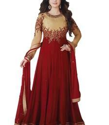 Buy Red & Beige  Resham Embroidery And Lace Patta Work Salwar Kameez ayesha-takia-salwar-kameez online