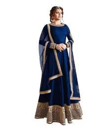 Buy Blue thread embroidery bhagalpuri silk salwar bhagalpuri-silk-salwar-kameez online