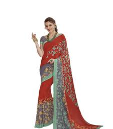 Buy Red printed crepe saree with blouse crepe-saree online
