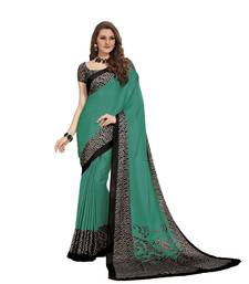 Buy Teal printed crepe saree with blouse crepe-saree online