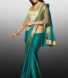 Buy Green Zari Resham Embroidery Butti With Lace Border Satin Designer Saree With Blouse satin-saree online