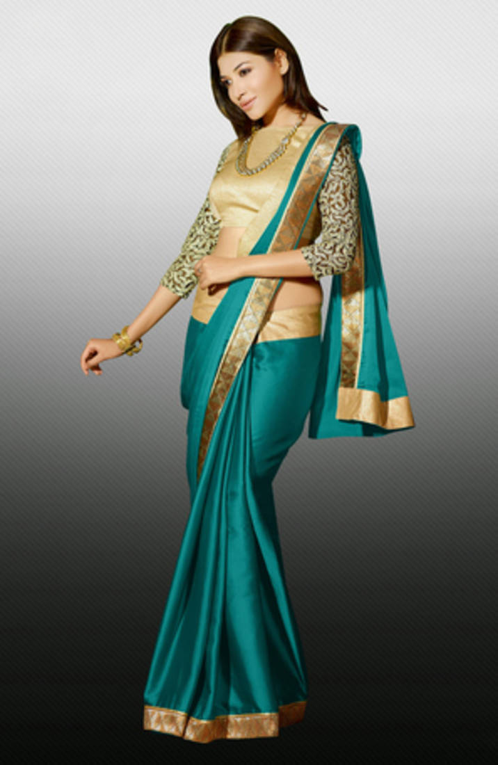 Buy Green Zari Resham Embroidery Butti With Lace Border Satin Designer Saree With Blouse Online