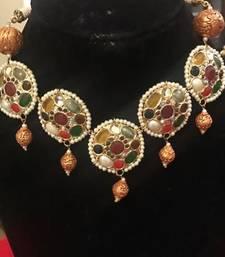 Buy navrattan stones tikki choker necklace Necklace online