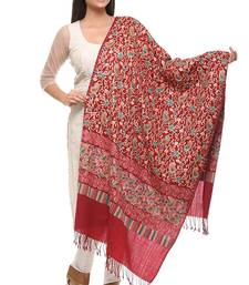 Buy red Wool Embroidered Pashmina shawl shawl online