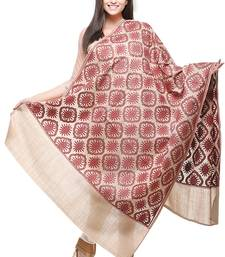 Buy beige Wool Embroidered Pashmina shawl shawl online
