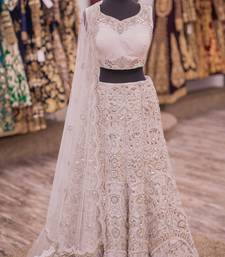 Buy White embroidered art silk unstitched lehenga bridal-lehenga online