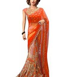 Buy Orange embroidered georgette saree with blouse one-minute-saree online