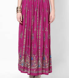 Buy Magenta Embroidered Cotton Long Skirt long-skirt online