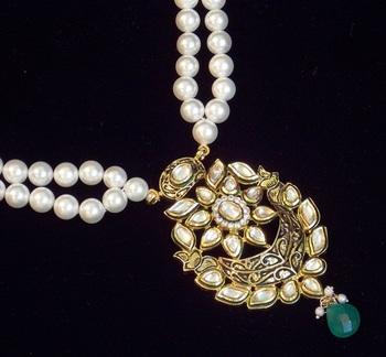 Royal kundan meena Pearl necklace set