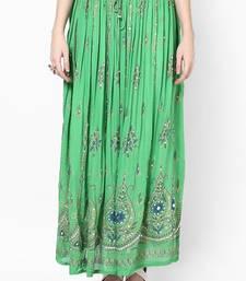 Buy Parrot Green Embroidered Cotton Long Skirt navratri-skirt online