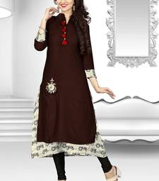 Buy Brown printed rayon long-kurtis long-kurtis online