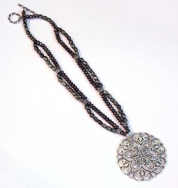 Black Grey Crystal German Silver Necklace