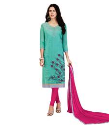 Buy Umangnx Blue embroidered chanderi salwar kameez with dupatta chanderi-salwar-kameez online