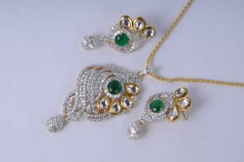 Stunning Gold Plated Diamond Pendant Set