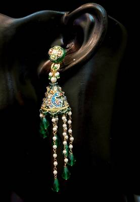 Beautifully Handcrafted Kundan Meena Jhumki Earrings Dangles