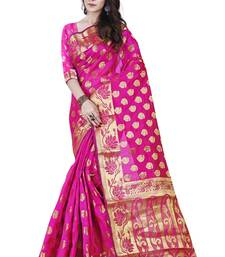 Buy Multicolor woven cotton silk saree with blouse jacquard-saree online