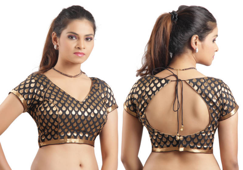 Buy Black Ready Made Stitched Padded Blouse With