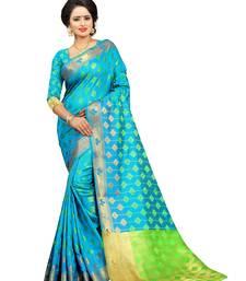 Buy Blue embroidered kanchipuram silk saree with blouse kanchipuram-silk-saree online