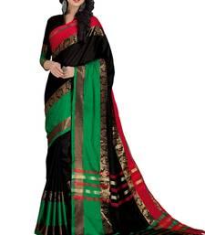 Buy Multicolor printed cotton silk saree with blouse handloom-saree online