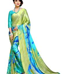 Buy Green printed silk blend saree with blouse silk-saree online