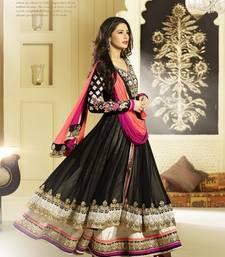 Buy Black Colour Georgette Fabric Designer Salwar Kameez party-wear-salwar-kameez online